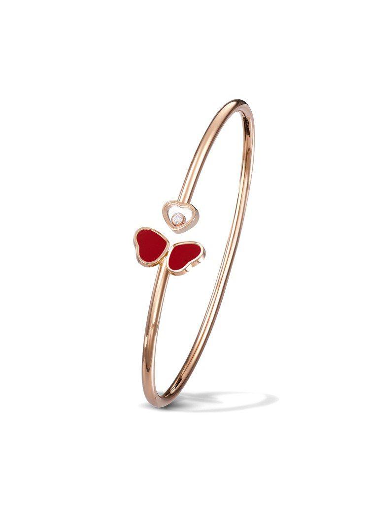 蕭邦Happy Hearts Wings系列手環,獲公平採礦認證18K玫瑰金鑲嵌...