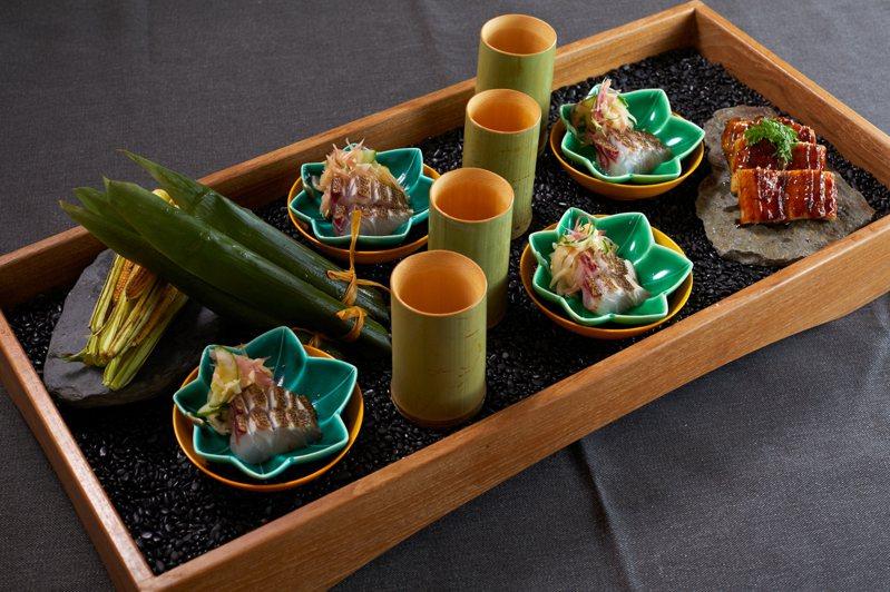 割烹針對夏季所推出的夏旬八寸。圖/The Ukai Taipei提供