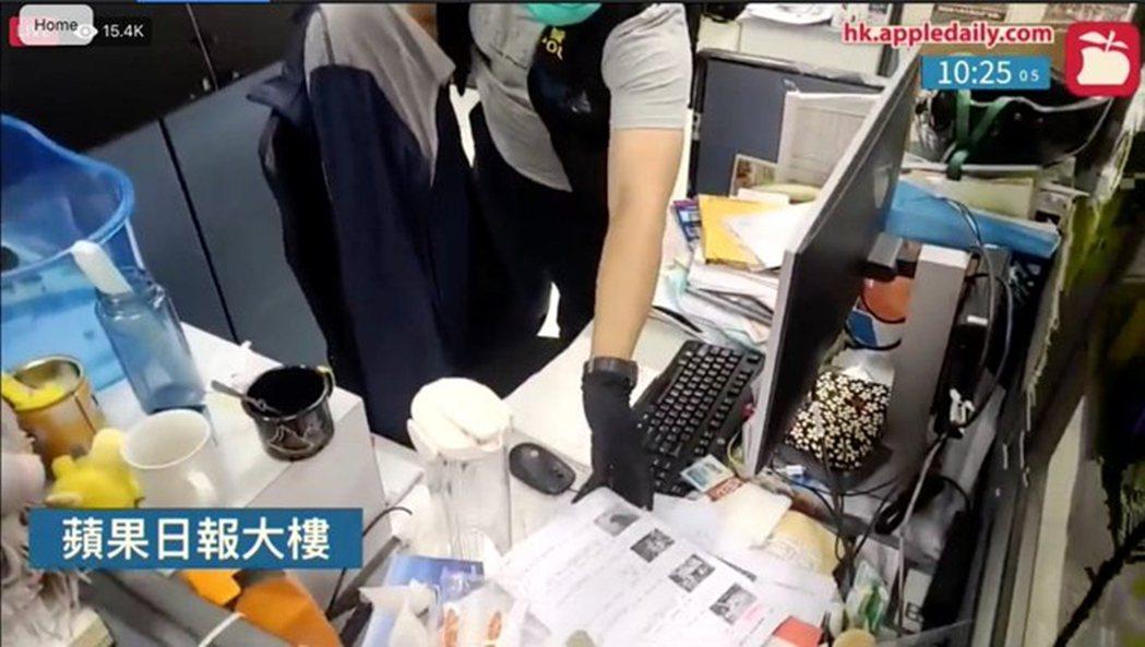 香港壹傳媒本部,則被列為「黎案的犯罪蒐證現場」。 圖/Twitter(香港蘋果日...