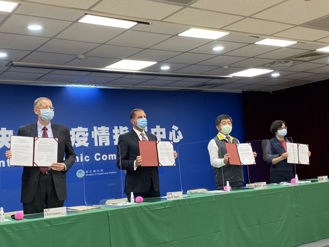 AIT與衛福部簽署AIT-TECRO衛生合作備忘錄,出席者由左到右為美國在台協會...