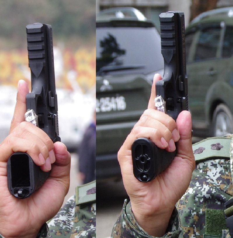 拿下彈匣(左)與裝上彈匣(右)的T75K3,左圖可清楚看到彈匣孔後方的繫繩環,右圖則可看到彈匣底板上的圓孔,正好容納繫繩環。記者程嘉文/攝影