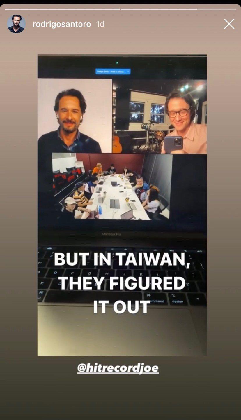 羅德林哥桑特羅與喬瑟夫高登李維接受台灣媒體聯訪時印象深刻,還特別截圖擺上自己IG...