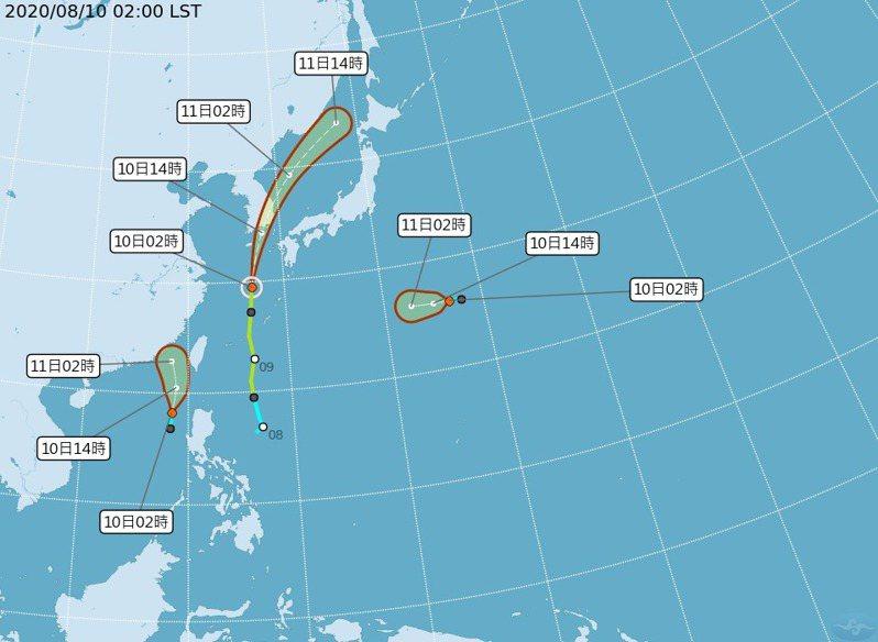 南海熱帶性低氣壓已升級成颱風。圖/氣象局提供