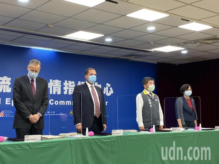 AIT今與衛福部簽署「AIT-TECRO衛生合作備忘錄」,出席者由左到右為美國在...