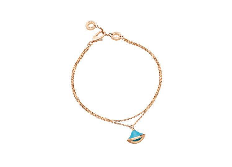 BVLGARI Divas' Dream系列綠松石手環,約46,200元。圖/寶...