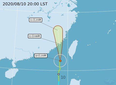 根據氣象局最新資料顯示,第6號颱風過去3小時強度稍增強且暴風圈亦有所擴大。圖/氣象局提供