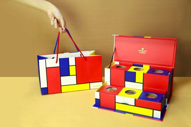 中秋月餅禮盒充滿文藝氣息。圖/裕元花園酒店提供