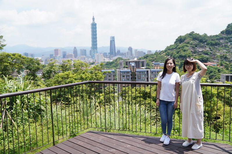 森林步道頂點還能遠眺101。 圖/臺北市政府工務局大地工程處提供