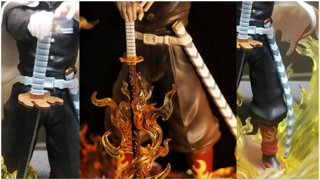 日輪刀比對圖:明顯像是日本刀匠打造的真刀(中),實物卻變成了塑膠玩具忍者刀(左)...