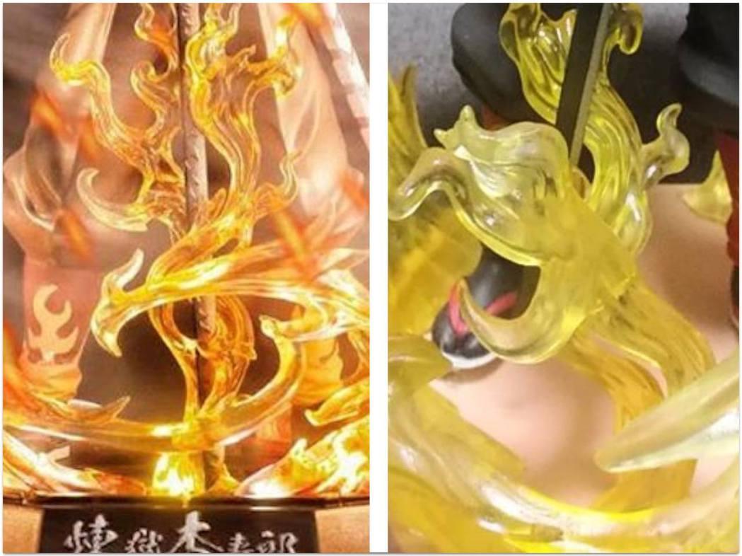 地台比對圖:火焰的層次和細節由MG變SD,更沒有任何漸變陰影,猶如扭蛋。 圖:T...
