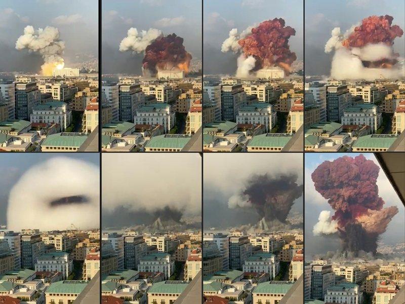 8月初,黎巴嫩首都貝魯特(Beirut)港口棚廠發生驚天爆炸,將海港與周圍建物夷為平地。 圖/法新社