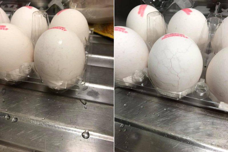 一名女網友到超市買雞蛋,沒想到回家一看發現10顆蛋裡有4顆出現裂痕。 圖/翻攝自「我愛全聯-好物老實説」