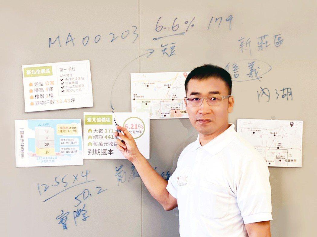 日昇金執行長郭錦駩,解說投資人遇到借款人該如何自保、分析投資標的挑選。 圖/日昇...