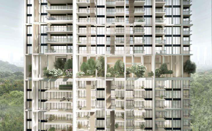 完工後的住宅大樓正面有陽台、遮陽篷和「天空露台」,露台上種滿各種植物,打造綠化空間。圖/取自ADDP網站