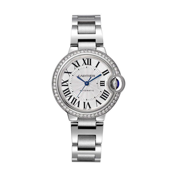 卡地亞Ballon Bleu de Cartier系列33毫米精鋼鑲鑽腕表,32...