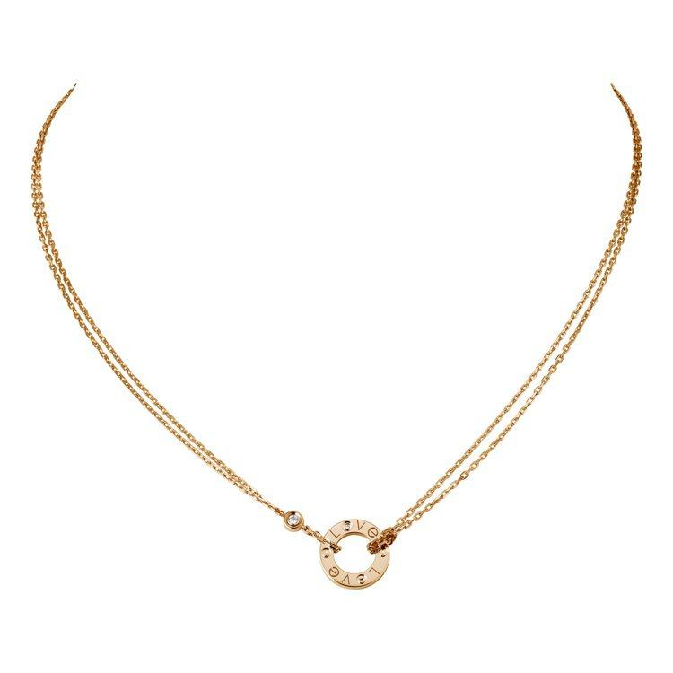 卡地亞LOVE玫瑰金鑽石項鍊,68,500元。圖/卡地亞提供