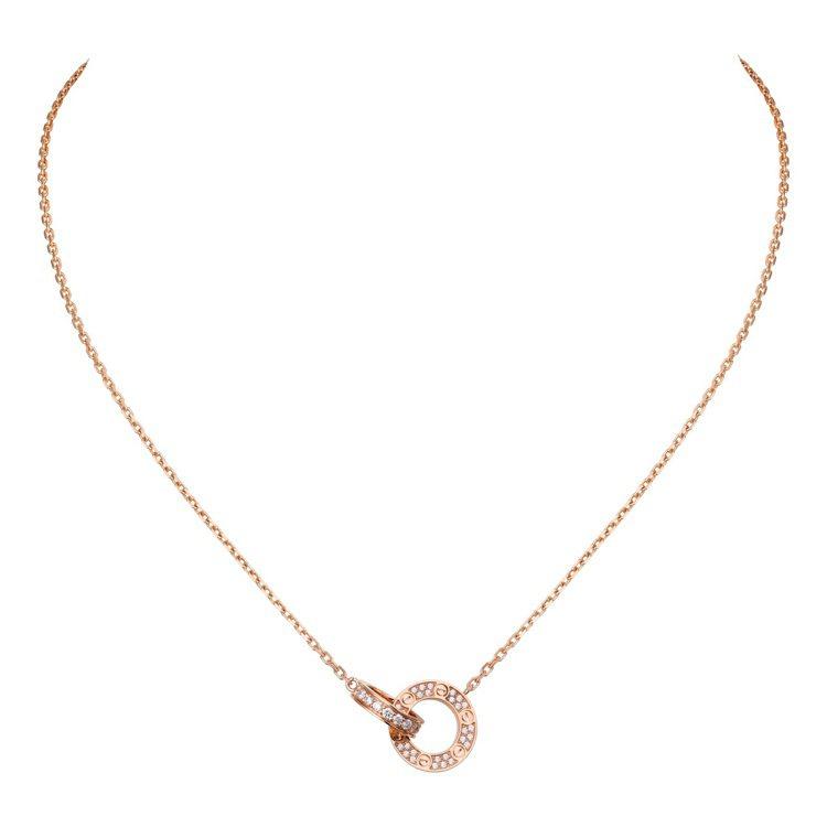 卡地亞LOVE玫瑰金鋪鑲項鍊,15萬5,000元。圖/卡地亞提供