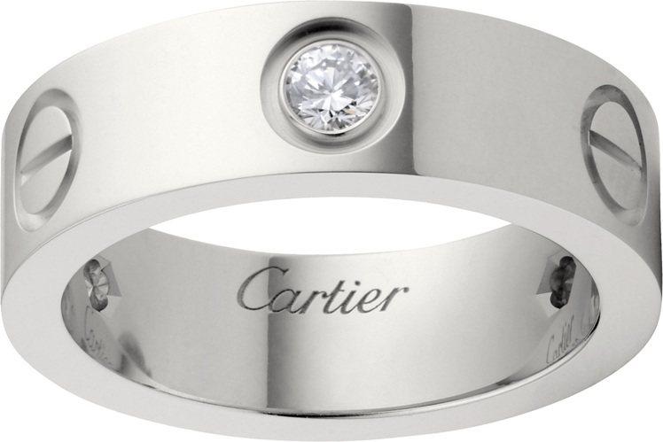 卡地亞LOVE白金鑲3顆鑽石戒指,11萬5,000元。圖/卡地亞提供