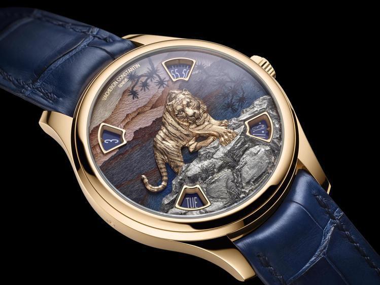 系出「閣樓工匠」系列的Imperial Tiger腕表,以盤踞在奇巖上的大貓俯瞰...