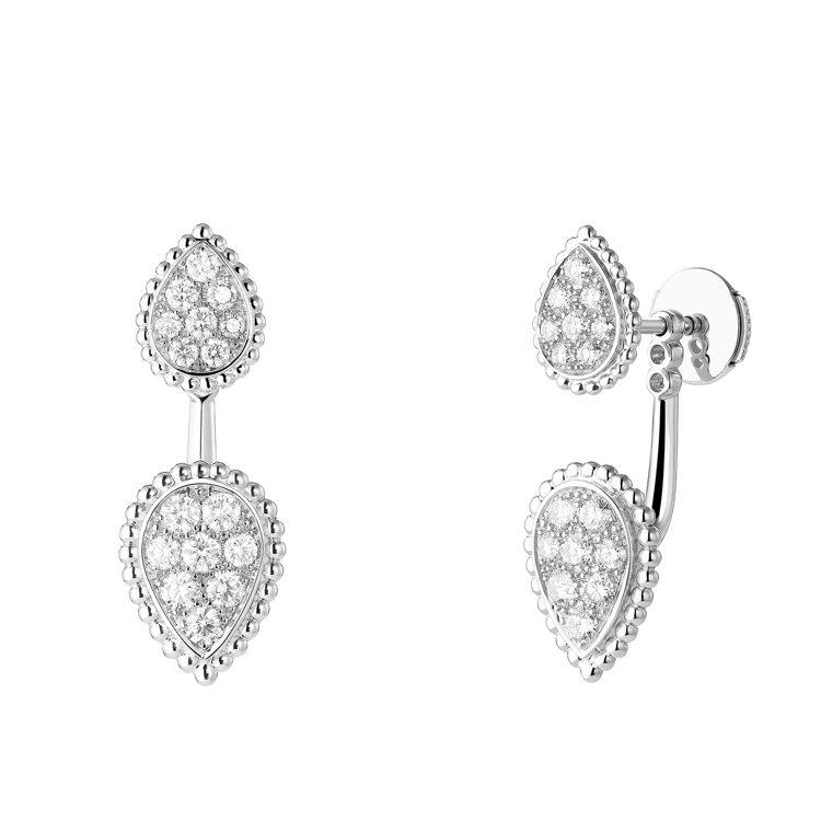 Boucheron,Serpent Bohème系列耳釘,白金,鑲嵌鑽石總重約0...