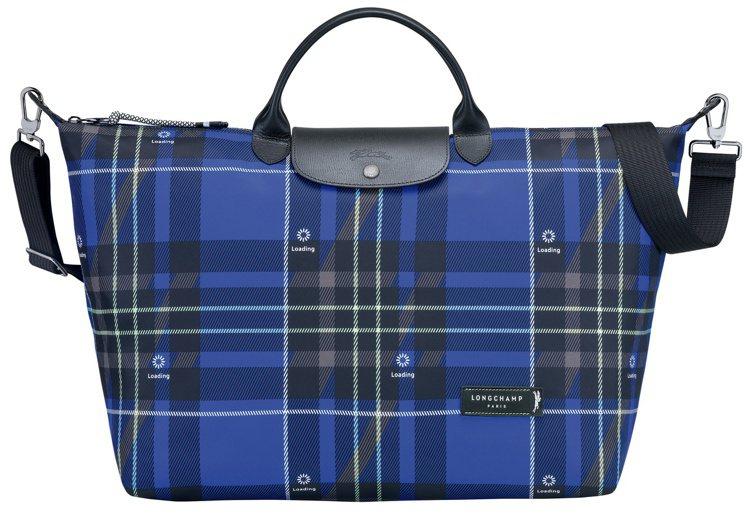 Green District藍色旅行袋,12,000元。圖/LONGCHAMP提...