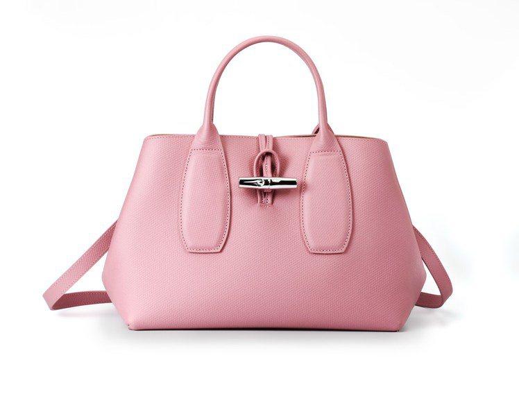 Roseau古粉色手提包,17,400元。圖/LONGCHAMP提供