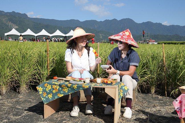 民眾可以預約在稻田腳印中用餐,享受稻穗相伴的浪漫。記者陳睿中/攝影