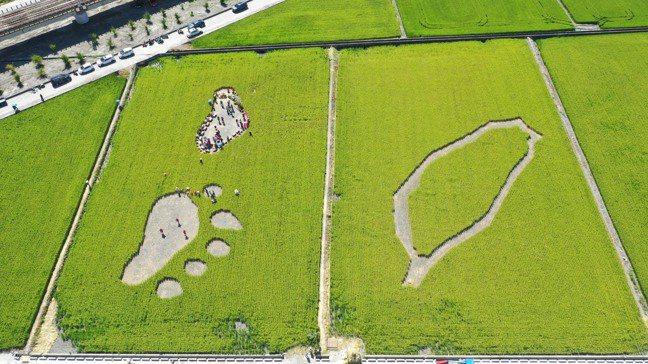 玉里鎮今年的稻草圖騰,以黑熊腳印與台灣為元素。圖/可樂旅遊提供