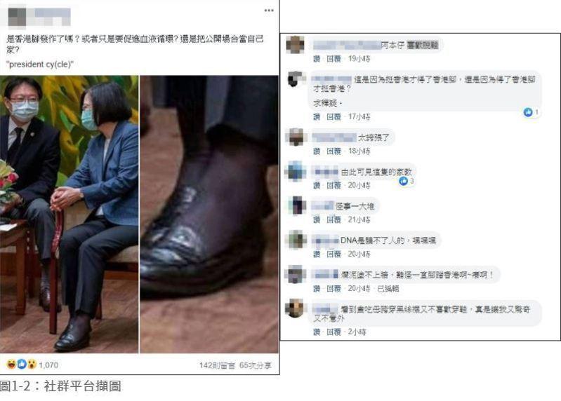 社群平台臉書流傳2張蔡總統在公開場合坐椅子的照。圖翻攝自台灣事實查核中心網頁