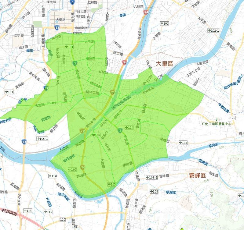 台中市議員李天生上午指出,大里地區昨傍晚開始發生大規模停水,至今上午還未恢復供水,範圍遍及17個里,但水公司上午說已僅剩地勢較高處水壓不穩。圖/台灣自來水公司提供