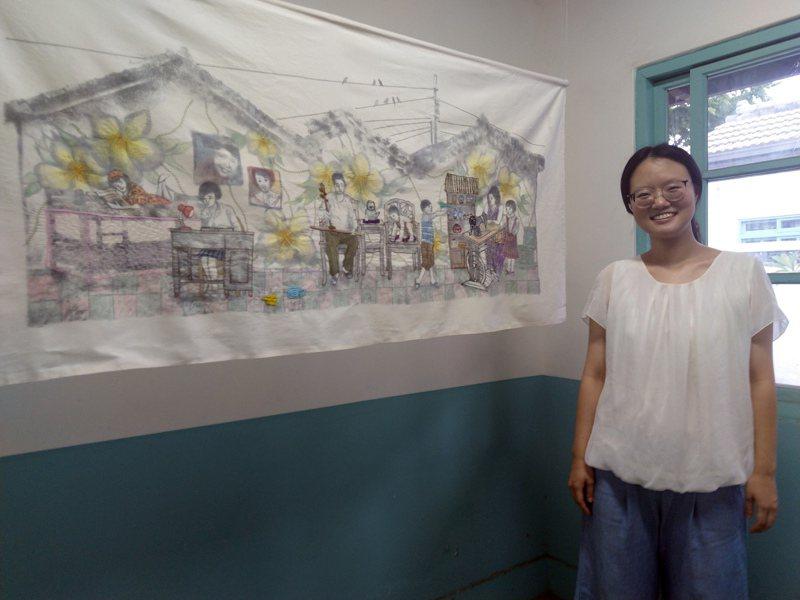 台中清水眷村文化園區展中,參展藝術家李孟儀與作品「甜蜜時光」,呈現眷村記憶是一段關於「家」和「童年」的深刻懷念。圖/台中市港區藝術中心提供