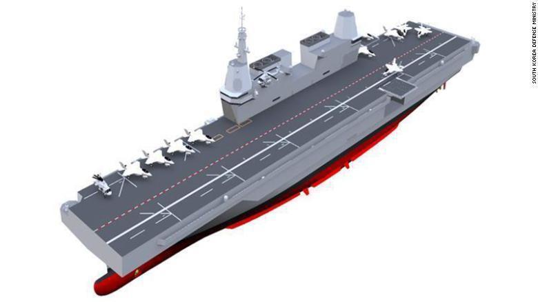 南韓國防部表示,計畫明年開始建造南韓第一艘航母。圖為南韓國防部發表的航母設計圖。