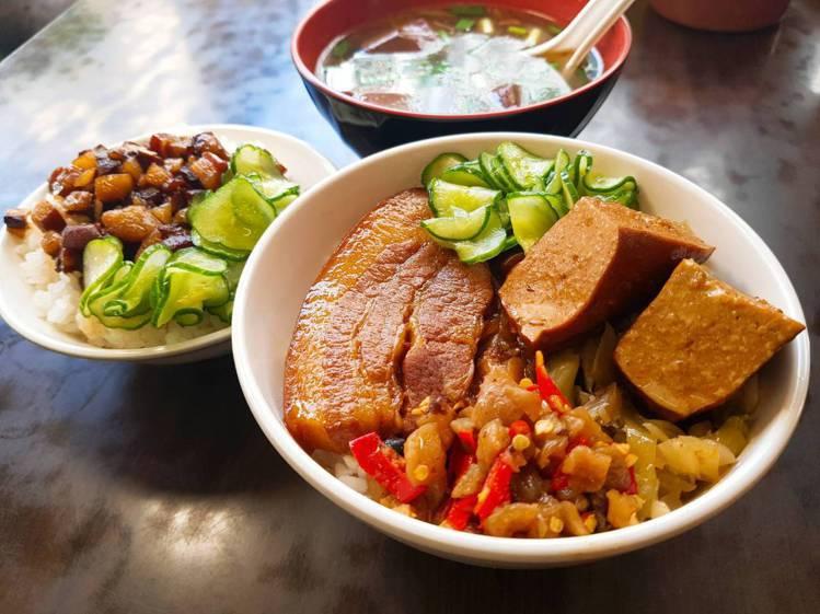 「一甲子餐飲」的焢肉飯,每份80元。記者陳睿中/攝影