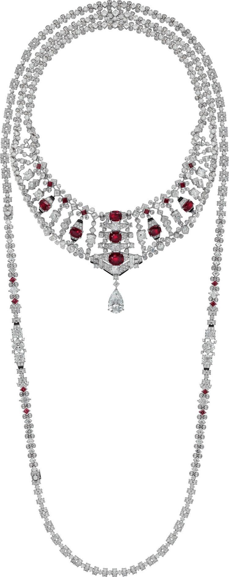 VARANTIA紅寶石鑽石項鍊,白K金鑲嵌七顆共重17.61克拉的天然頂級緬甸枕...