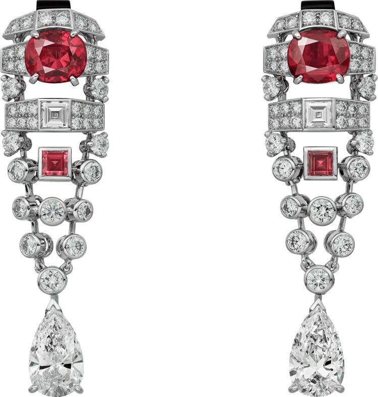 VARANTIA紅寶石鑽石耳環,白K金鑲嵌兩顆共重3.70克拉的枕形緬甸紅寶石、...
