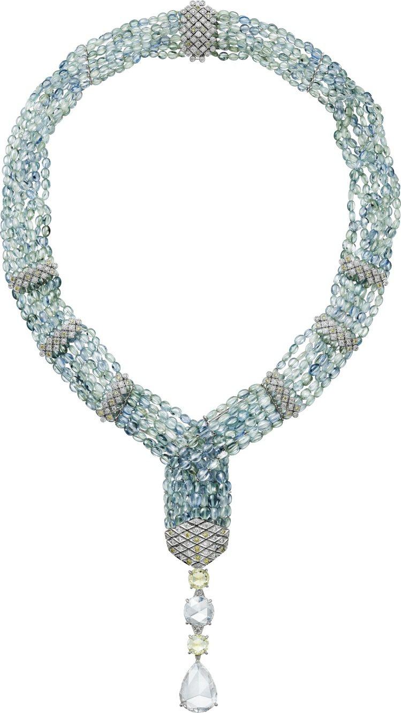 ACHERNAR藍寶石串珠項鍊,白金鑲嵌1顆4.53克拉梨形玫瑰式切割鑽石、1顆...