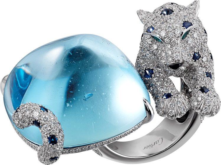 美洲豹頂級珠寶海水藍寶戒指白K金,一顆重40.84克拉的塔糖形Santa Mar...