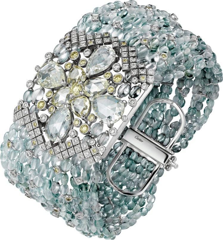 ACHERNAR藍寶石串珠手環,白金鑲嵌5顆梨形玫瑰式切割鑽石共重7.82克拉、...