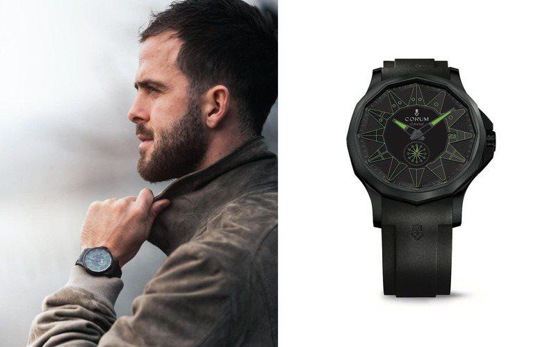 CORUM年初為超級足球明星Miralem Pjanić推出的限量海軍上將42毫米Full Black自動腕表,綠色款式訂價約18萬5,000元,限量100只。圖 / CORUM提供。