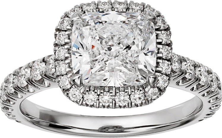 Cartier Destinée單鑽戒指,鉑金鑲嵌一顆2.91克拉的枕形切割鑽石...