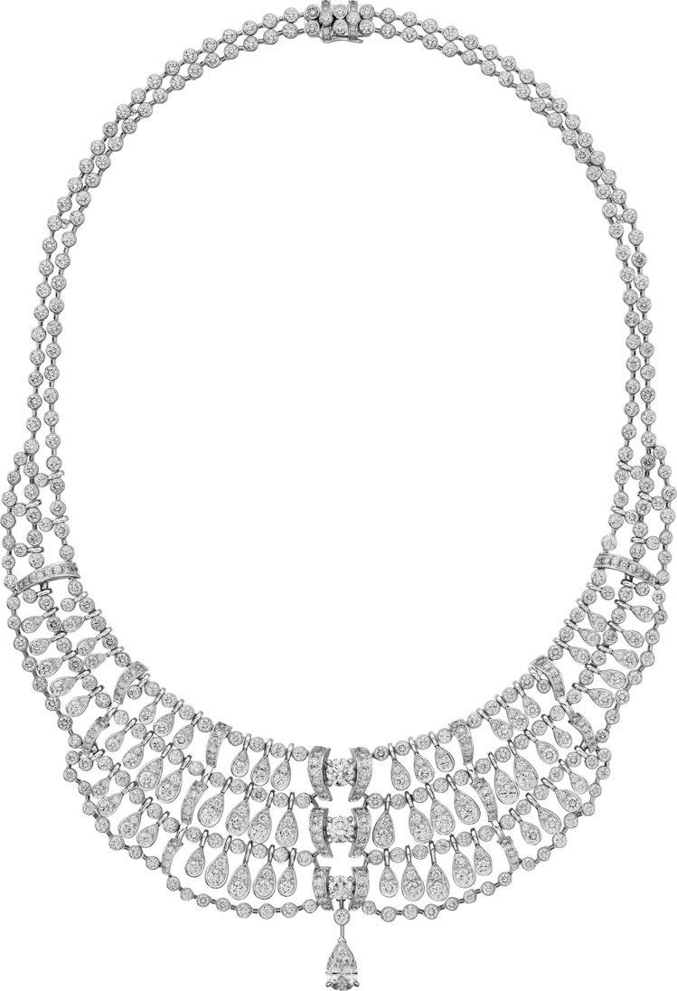 Pluie de Cartier鑽石項鍊,白K金鑲嵌1.08克拉的梨形切割鑽石主...