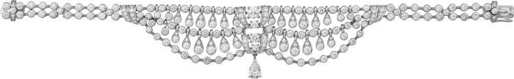 Pluie de Cartier鑽石手鍊,白K金鑲嵌一顆0.40克拉的梨形切割鑽...