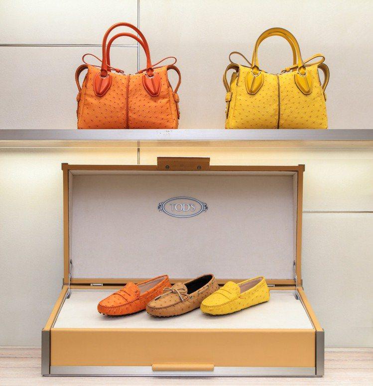 TOD'S鴕鳥皮革D-Styling Bag及豆豆鞋系列。圖/迪生提供