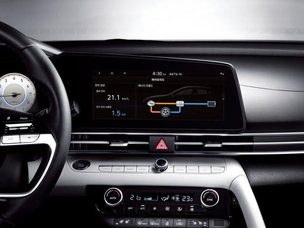 全新Hyundai Elantra/Avante Hybrid還可透過中控螢幕顯...