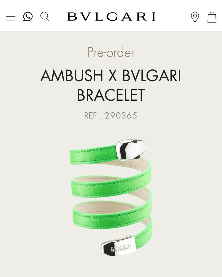 寶格麗Ambush連名作還包括三圈皮革手環。圖/取自寶格麗官網