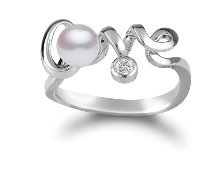 MIKIMOTO Love Collection 18K白金珍珠鑽石戒指,35,...
