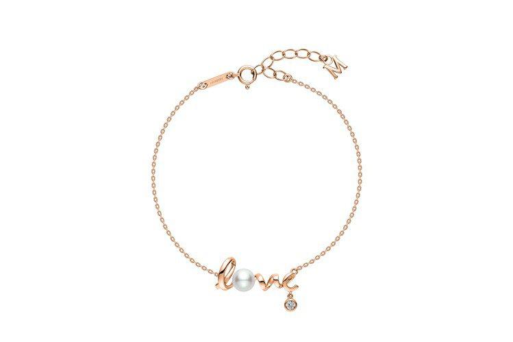 MIKIMOTO Love Collection 18K粉紅金珍珠鑽石手鍊,33...