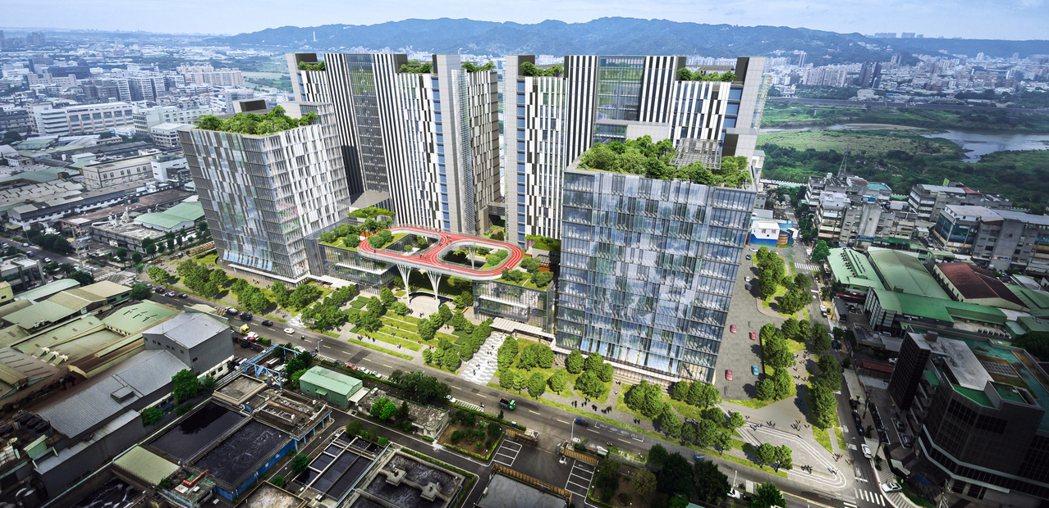 中華工程公司將於土城工業區興建基地面積5.35公頃的AI智慧產業園區,圖為完工模...