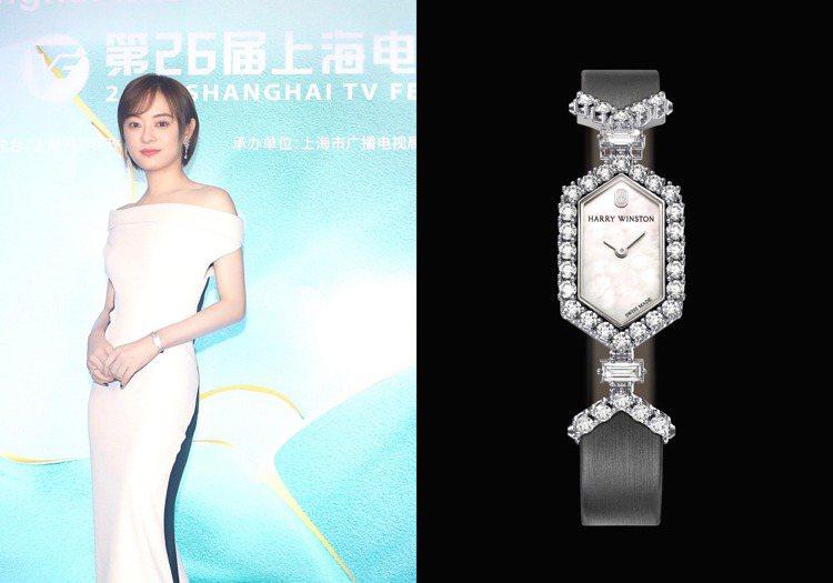 出席上海電視節時,孫儷配戴的Harry Winston的Art Deco頂級珠寶...