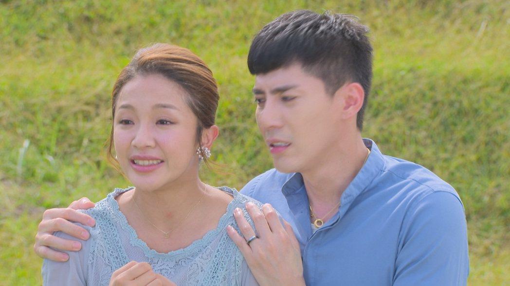「多情城市」中,賴慧如(左)、王凱「母子」看到王燦在懸崖邊,難過哭了。圖/民視提...